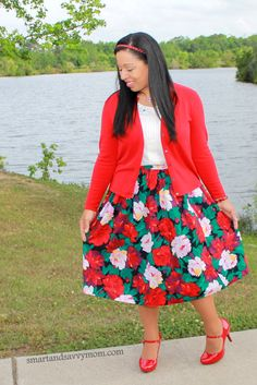 red and green floral print skirt. Vintage thrifted with white and red cardigan. modest outfit idea.