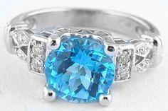 Swiss Blue Topaz Diamond Rings