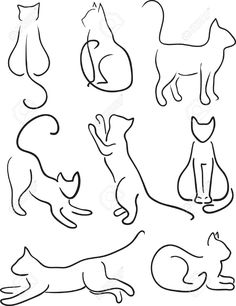 Silhouette Of Cats Cat Design Set Line Art Royalty Free Cliparts, Vectors, And Stock Illustration. Image 16703453.