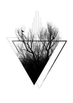 Forest Tattoos, Nature Tattoos, Kreis Tattoo, Art Minimaliste, Minimal Art, Triangle Wall, Black And White Aesthetic, Tree Wall Art, Tree Print