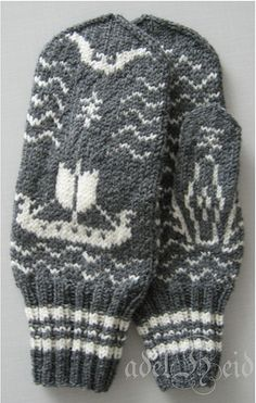Ravelry: adelheid's dragsfjärds vantar vol.2  Viking ship mittens! Vikings Costume Diy, Viking Costume, Knitting Socks, Hand Knitting, Knitted Hats, Viking Pattern, Sweater Mittens, How To Start Knitting, Mitten Gloves