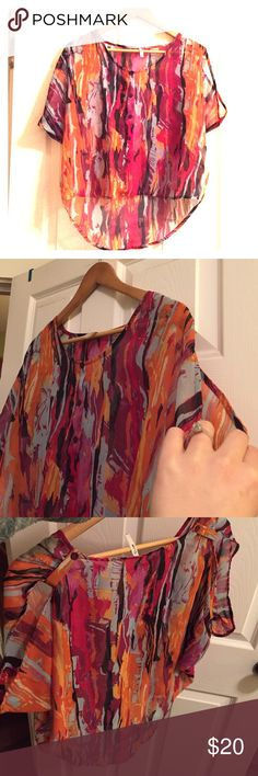 Myth | Open Shoulder Blousr Beautiful button down top with slitted sleeves. Pretty watercolor pattern of reds, purples, oranges and blues. Like new, no damage. Myth Tops Blouses