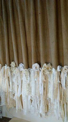 Made To Order Burlap Vintage Lace Curtains 2 Panels Boho 54u0027u0027 X 85u0027