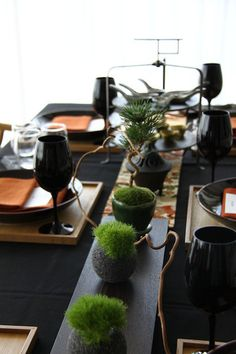 Table coordination of WA Style Moss Centerpieces, Dining Room Centerpiece, Dinning Table, Dining Ware, Luxury Dining Room, Dining Room Design, Party Table Decorations, Decoration Table, Japanese Dining Table