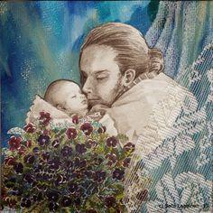 By: Satu Laaninen  Herkkupurkki: kollaasi pikkukimalainen.blogspot.com  drawing, portrait, father and child, sleeping baby, love