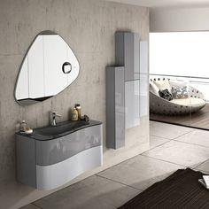 Nøytrale farger trenger ikke nødvendigvis bety hvitt – sjekk dette lekre møbelet fra GB Group sin Onda serie👌👌👌#modenafliser Decor, Furniture, Bathroom Lighting, Lighted Bathroom Mirror, Home Decor, Bathroom Mirror, Bathroom, Mirror