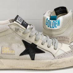 Golden Goose Mid Star Sneakers In Leather With Leather Star Women - Golden Goose / GGDB