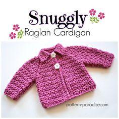 Free crochet pattern: Snuggly Raglan Cardigan in months size by Pattern Paradise Crochet Toddler, Baby Girl Crochet, Crochet For Kids, Crochet Baby Sweaters, Crochet Baby Clothes, Baby Knitting, Baby Sweater Patterns, Baby Patterns, Crochet Patterns
