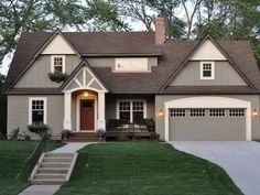 Exterior Paint Colors with stained front door | Exterior Paint Colors Behr