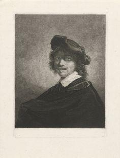 Johannes Pieter de Frey: portret van de schilder Gerard Dou. Ten halven lijve naar links. Zijn hoofd is getooid met een baret. Ets. ca. 1780 - 1834. Rijksmuseum, Amsterdam. Naar Gerard Dou: zelfportret ca. 1650.