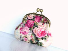 Pink vintage roses coin purse