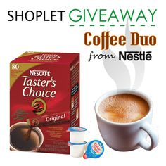 Wake up with your favorite hot beverage- Coffee! We can never have enough of this tasty, caffeinated drink. Here's your chance to win a box - http://blog.shoplet.com/giveaways/win-a-nestle-coffee-duo/