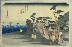 Hiroshige - The Fifty-three Stations of the Tōkaidō 8th station : Oiso (Rain on a town by the coast)