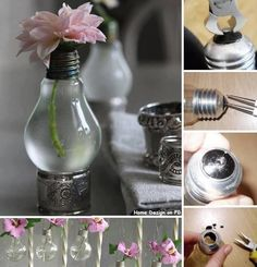 Light Bulb Vase (Wondering about hanging several from a tree with candles...)