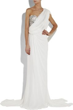 Marchesa Bridal 2010 - Crystal embellished silk/chiffon one shoulder