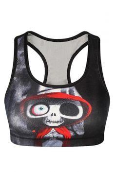 Womens Stylish U Neck Skull Printed Tank Crop Top Black