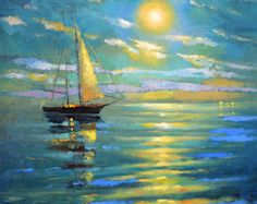 La luna – oil on canvas Dmitry Spiros. sea oil painting on canvas. sea wall art sea wall decor sea room decor, sea home decor La luna oil on canvas Dmitry Spiros. sea oil painting on Old Paintings, Landscape Paintings, Ocean Paintings, Original Paintings, Oil Painting On Canvas, Canvas Wall Art, Knife Painting, Painting Abstract, Painting Art