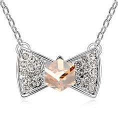 $3.16 Sweet Rhinestoned Bowknot Pendant Decorated Necklace For Women