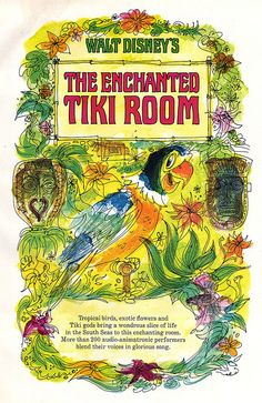 Enchanted Tiki Room on record Illustration from the booklet accompanying Walt Disney's Enchanted Tiki Room LP from Got this for 5 bucks at s record expo. Walt Disney, Disney Love, Disney Art, Disney Dream, Tiki Art, Tiki Tiki, Tiki Room, Disney Scrapbook, Vintage Scrapbook