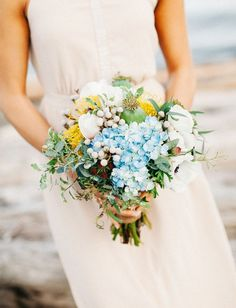 Bohemian Beach Styled Elopement Photo By Catie Coyle Photography Yellow Bouquets, Floral Bouquets, Wedding Bouquets, Wedding Flowers, Wedding Trends, Fall Wedding, Dream Wedding, Pale Yellow Weddings, Beach Wedding Colors