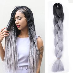 Details about ombre Black / gray 24 kanekalon jumbo synthetic braiding Hair Extension Box Braids Hairstyles, African Hairstyles, Short Hairstyles, Grey Box Braids, Braids For Black Hair, Ombre Box Braids, Jumbo Braiding Hair, Braided Hairstyles For Black Women, Box Braids Styling