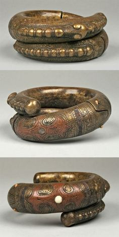Indonesia ~ Sumatra   Bracelet from the Toba Batak people   Brass and copper   19th to early 20th century