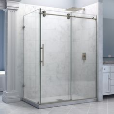 "DreamLine SHEN-60366012-07 Enigma 36"" by 60 1/2"" Sliding Shower Enclosure, Clear 1/2"" Glass, Stainless Steel Finish"