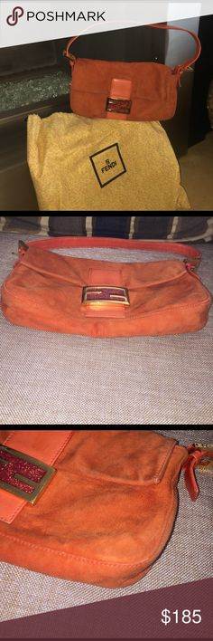 ⭐️SALE ⭐️ FENDI  Orange Suede Baguette Bag Authentic, bought at Saks 5th Avenue. this style is still around & is available at Fendi boutiques.. Used but has been professionally cleaned. Suede still has a lot of life in it. See pictures for signs of wear. Fendi Bags Shoulder Bags
