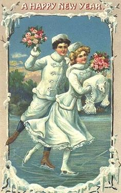 Couple in white ice skating. Happy New Year. Vintage Card. suzilove.com