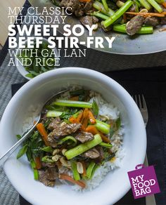 Sweet Soy Beef Stir-Fry with Gai Lan and Rice. Classic recipes with a twist. Ideal for busy families with older kids who want healthy food and delicious recipes delivered to their door. http://www.myfoodbag.com.au/my-food-bags/classic