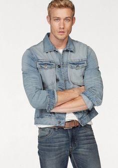 COLORADO DENIM Jeansjacke »in verschiedenen Farben - GOTS zertifiziert«  #colorado #denim #farben #jeansjacke #verschiedenen #zertifiziert Denim Jeans, Denim Jacket Men, Denim Button Up, Button Up Shirts, Mode Online, Colorado, Slim Fit, Outfit, Jackets