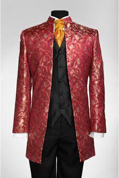 By Eneroth nehru wedding suit morning coat jacket in red silkbrocade