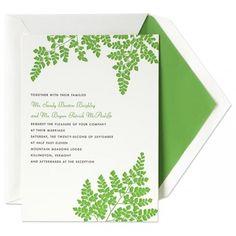 Maidenhair Fern Invitation and Envelope  Green letterpress fern on cotton card stock. FRESH!