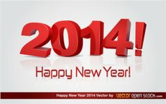Happy new year 2014 in 3D style