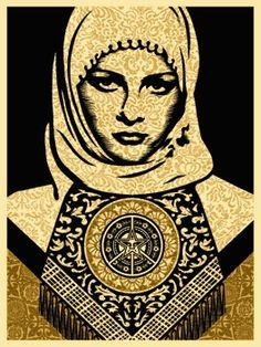Shepard Fairey   Arab Woman (Gold)   Opus  http://www.printed-editions.com/artwork/shepard-fairey-arab-woman-gold-30027