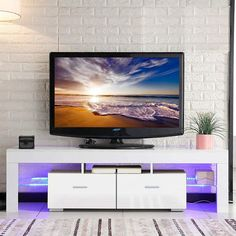 Tv Stands Uk, White Tv Stands, Black Tv Stand, Console Table Living Room, Fireplace Console, Console Furniture, Tv Stand With Led Lights, Tv Stand With Bracket, Tv Stand High Gloss