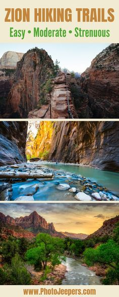 Zion National Park has easy, moderate, and strenuous hiking trails. This guide details 13 of the best hikes at Zion. May Zion hikes require advanced preparation. And hiking safety is so important at Z Bryce Canyon, Grand Canyon, Zion Canyon, National Park Camping, Us National Parks, Zion Hikes, Utah Hikes, Utah Hiking Trails, Hiking Usa