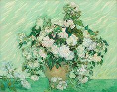 """""""Naturaleza muerta: vaso con rosas"""", 1890, Vincent van Gogh #Magarte #HistoriadelArte #vincentvangogh #Pinturaalaceite #galerianacionaldearte 180/365"""