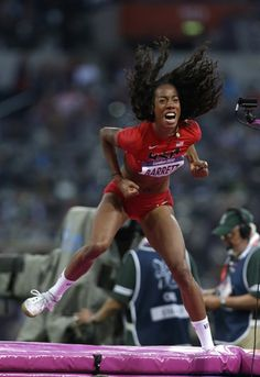 United States' Brigetta Barrett reacts as she wins silver in the women's high jump final during the athletics in the Olympic Stadium at the 2012 Summer Olympics, London, Saturday, Aug. 11, 2012.