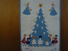 Scandinavian Christmas linens---Dancing around the Danish tree----{my family's collection}