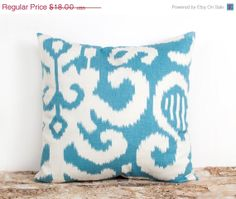Hey, I found this really awesome Etsy listing at https://www.etsy.com/listing/128996497/sale-aqua-pillow-cover-16x16-inch-ikat