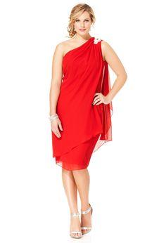 Plus Size Embellished Chiffon One Shoulder Dress | Plus Size Party Dresses | Avenue