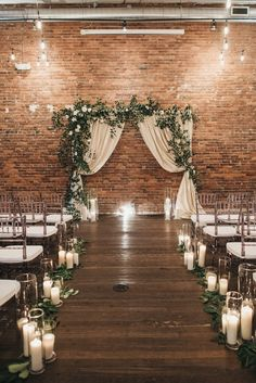 A beautiful, romantic-meets-industrial wedding ceremony space perfect for a ceremony! The Effective Pictures We Offer You About wedding ceremony decorations lights A qual Indoor Wedding Ceremonies, Indoor Ceremony, Wedding Altars, Wedding Ceremony Decorations, Rustic Wedding, Industrial Wedding Decor, Wedding Ideas, Winter Wedding Arch, Indoor Wedding Arches
