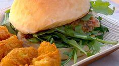 Barramundi Burgers with Chickpea Fritters: an Official MasterChef Australia recipe Slider Recipes, Fish Recipes, Seafood Recipes, Great Recipes, Favorite Recipes, Yummy Recipes, Barramundi Fish Recipe, Chickpea Fritters, Masterchef Recipes