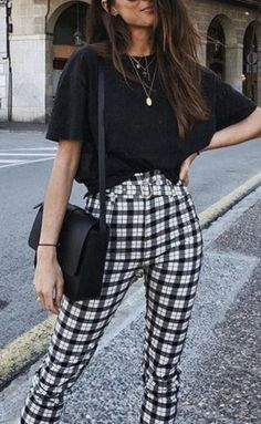 black crop tee + black crossbody bag + gingham pant outfit | #ootd #outfitideas