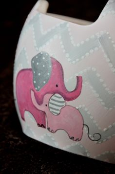Pink Elephants and chevron Baby Helmet, Helmet Head, Little Baby Girl, Little Babies, Doc Band Wraps, Kids Wraps, Vehicle Wraps, Helmet Design, Design Girl