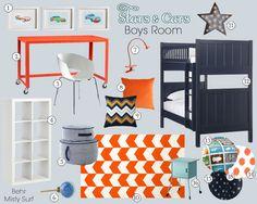 Stars and Cars Boys Bedroom Mood Board
