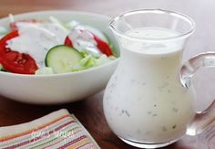 Low-fat Buttermilk Ranch Dressing recipe with 60 calories. Ww Recipes, Cooking Recipes, Healthy Recipes, Skinnytaste Recipes, Recipies, Salad Recipes, Healthy Food, Macro Recipes, Healthy Weight