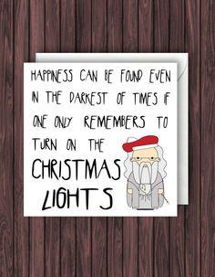 Christmas Lights. Harry Potter Christmas Card. Geek Blank Card. Funny Greetings Card. Dumbledore. Xmas.