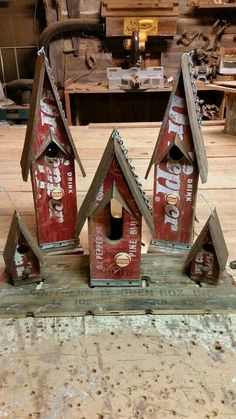 Dr. Pepper crate birdhouses.